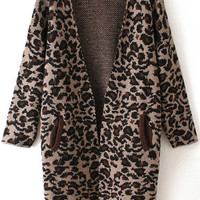 Dark Brown Leopard Printed Knitted Cardigans