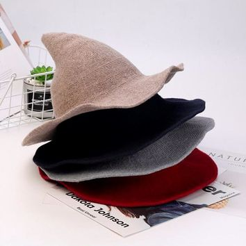 Women Witch Pointed Hat Wide Brim Winter Wool Thicken Knitted Cap Ladies Wizard Chapeau Fisherman Bucket Hats for Female