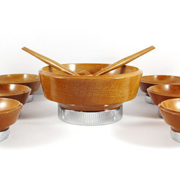 Mid-Century Chromium Wood and Chrome Salad Set by Hellerware