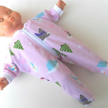 American Girl Bitty Baby Bitty Twin Doll Clothes Handmade - Light Pink Seal Penguin Igloo Tree Snowflake Zip Up Flannel Feetie Pajamas Pjs