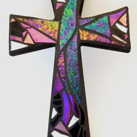 "Mosaic Wall Cross, Iridescent Sweep + Pink + Silver Mirror,  Handmade Stained Glass Mosaic Design, 12"" x  8"""
