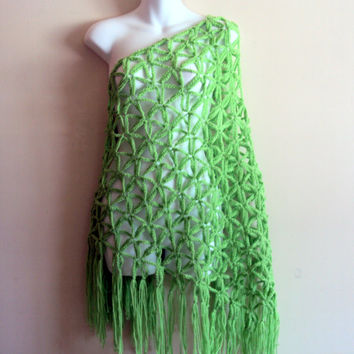 Crochet Big Summer Shawl Swimsuit Coverup Beachwear Bright Green Shoulder Wrap Scarf Women's Clothing Wedding Shawl Mother's Day Gift