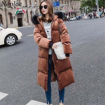 Neploe Winter Fashion Velour Women Parkas 2017 Korean Newly Fur Patchwork Hooded Warm Cotton Coat Streetwear Thick Jacket 66266