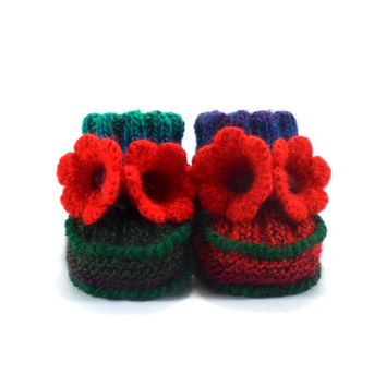 Hand Knitted Baby Booties with Crochet Bell Flowers - Green and Red,  3 - 6 months
