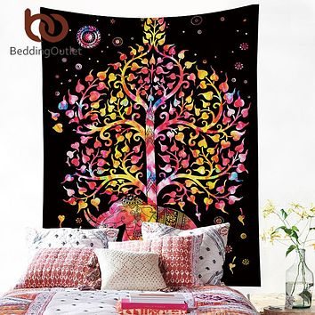 BeddingOutlet Elephant With Tree Tapestry Bohemia Wall Carpet Boho India Hanging Wall Tapestries Polyester 130x150cm 150cmx200cm