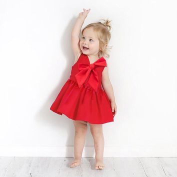 kids party dresses red infant princess dress cute big bow girls cotton dresses bebe girl summer dress for girls costume toddler