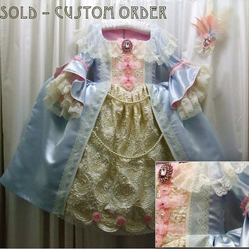 Marie Antoinette Taffeta/Satin/Lace Girl's Costume or Play Gown with Large Feathered Hair Clip