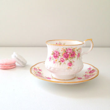 English Rosina Queen's Garden Tea Cup & Saucer Fine Bone China Wedding, Birthday, Thank You or Housewarming Gift Inspiration