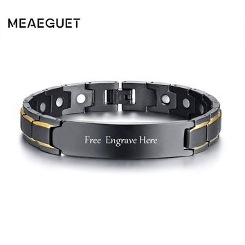 Meaeguet Free Engraving Stainless Steel Magnetic Health Personal Info Id Bracelet For Men Therapy Biomagnetic Cuff Bangles
