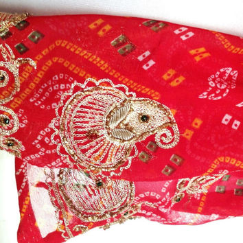 Red and Gold Silk Bandana Scarf