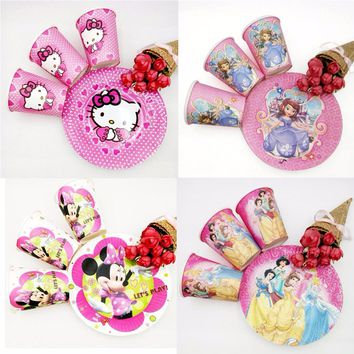 20pc/set Cup/Plate Minions Spiderman Avengers Moana Trolls Mickey/Minnie Mouse Party Decorations Birthday Supplies Favors