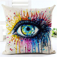 MYJ 2016 Europe type style Painted feathers Pattern Cushion Home Decorative Pillowcase Cotton Linen Cojines Square Throw Pillow