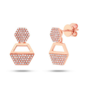 0.31ct 14k Rose Gold Diamond Hexagon Earring Jacket with Studs