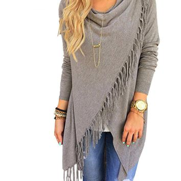 Long Sleeve Blouse Fall New Design Fashion Casual Women's Long Tassel Slash Blouse Tops Shirt S / M / L / XL