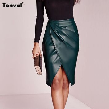 Viifaa High Waist Faux Leather Skirt Women Sexy 2016 Autumn Winter Asymmetric SaiasTight Pencil Skirts