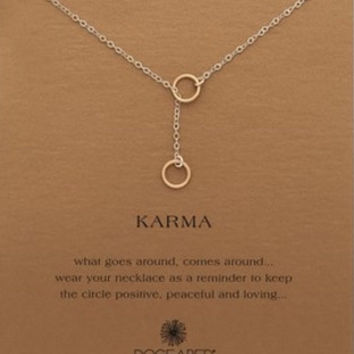 karma double circle lariat necklace, gold dipped .