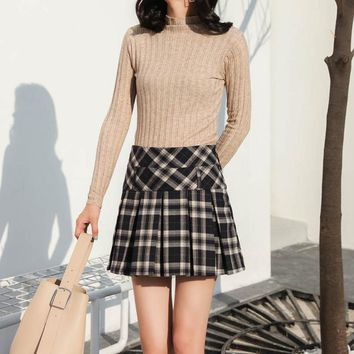 Yaxez 2018 New Women Plaid Pleated Harajuku Skirt with Shorts Kawaii Skater School Uniform Mini Skirt High Waist Womens Falda