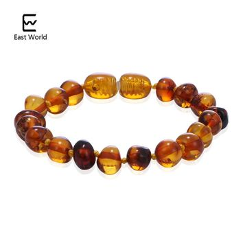 EAST WORLD Cognac Color Amber Bracelets Anklets 4.7--8.7'' Handmade Original Jewelry Baltic Ambar Beads for Baby Adults Women
