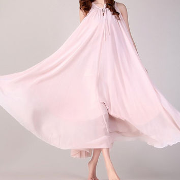 Nude pink Wedding Party Dress Boho Holiday Beach Maternity Maxi Dress