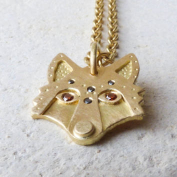 Wolf Pendant with Cognac Diamond Eyes in 18k Yellow Gold  and Black Diamond Detail. Handmade Artisan Amulet with Recycled Gold.