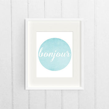 French Circle Wall Art, Blue Watercolor Printable Graphic Print, Bonjour Dorm Decor Print, College Digital Art Download, Printable Poster