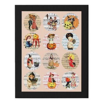 Halloween Witches Pumpkins Sheet Music Collage Art Faux Canvas Print