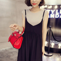 Short Sleeved Dress Two Piece Sling