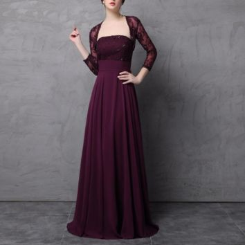 Two Piece Burgundy Mother of the Bride Dress with Lace Jacket A line Chiffon Skirt Wedding Guest Formal Dress