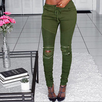 Women's Fashion Ripped Holes Zippers Pants [9430884548]