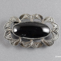 Edwardian Mourning Brooch Pin Onyx Signed Sterling Antique