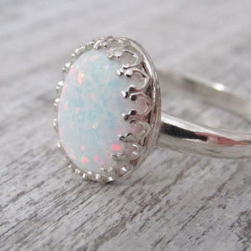 Sterling Silver Opal Ring, White Opal, Lab Created Opal Ring, Opal Gemstones, Opal Jewelry, October Birthstone