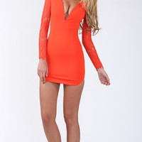 Catch Me Now Bodycon Lace Dress In Burnt Orange - Popcherry