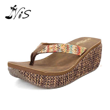 NIS 2017 Summer Platform Girls Beach Sandals,Women 6.8 cm Wedges Heels Slippers,Fashion Colorful Hemp Slides Flip Flops Shoes