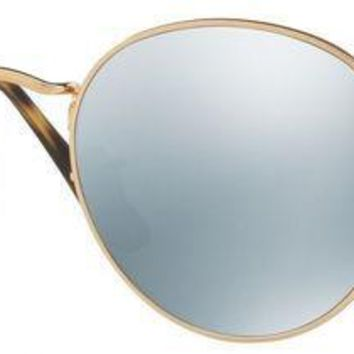 ESBONQK Ray-Ban Round Men's RB3447N 001/30 Gold Frame Grey Flash Lens Sunglasses