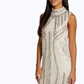 Rosie High Neck Embellished Bodycon Dress | Boohoo