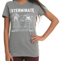 Doctor Who Dalek Exterminate Blueprint Girls T-Shirt