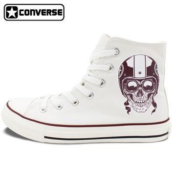 Men Women's New Converse All Star Shoes Skull on the Motorbike High Top White Canvas S