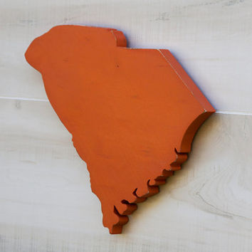 South Carolina or any US state shape sign wood cutout wall art. 24 Color Choices. Wedding Housewarming College Sports Fan Decor Gift