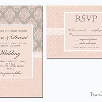 Printable Lace Wedding Invitation, Bridal Shower, Birthday Invitation, RSVP - Damask, Polka Dot Pink & Grey