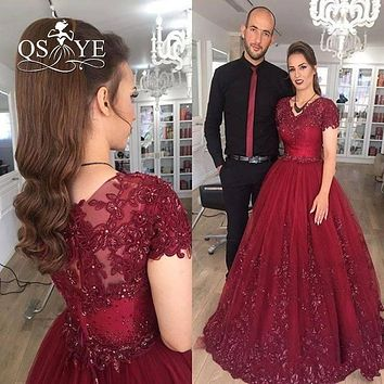 Vestido de Novia Burgundy Ball Gown Long Prom Dresses 2017 V Neck Lace Beaded Floor Length Evening Dress Formal Party Gown