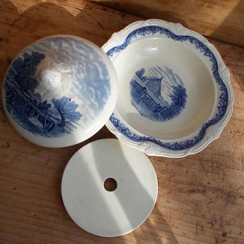 Vintage Blue Transferware Butter Dish with Insert - Grindley, England - Round Shape - Transfer Ware - Cottage Decor