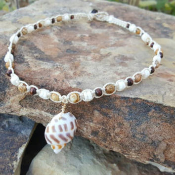 Hemp Necklace, Handmade Jewelry, Shell Necklace, Wood Beads, Puka Shells, Jasper, Gift for Her, Hemp Jewelry, Beach Jewelry, Mermaid, Hemp