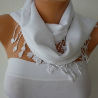ON SALE - White Scarf  -  Pashmina Scarf  - cowl scarf Bridesmaid Gift - fatwoman