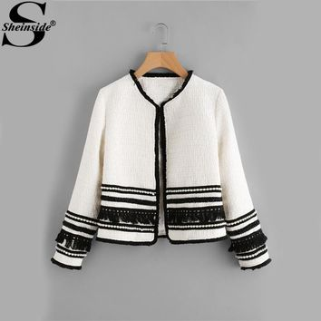 Sheinside White Pearl & Fringe Tape Embellished Tweed Blazer Collarless Tassel Fitted 2017 Winter Women Workwear Elegant Blazer