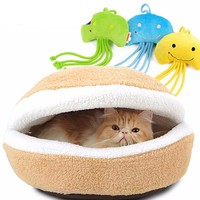 Hamburger Bed With Cat Toy