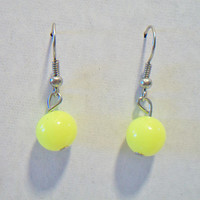 Flourescent Yellow Dangle Earrings Neon Lemon Jewelry Fashion Accessories For Her