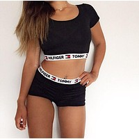 Tommy Hilfiger Underwear Sport Gym Crop Shirt Top Tee Shorts (2 Pc Set)