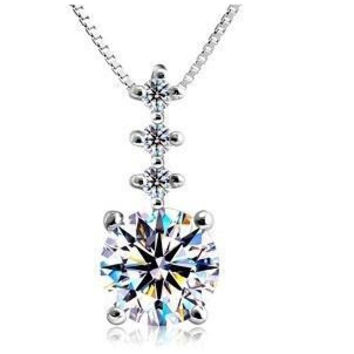 Solitaire CZ in 925 Sterling Silver Necklace