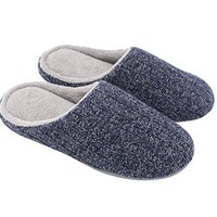 HomeIdeas Womens Cotton Knit Memory Foam Slippers Terry Cloth Anti Skid IndoorOutdoor Slipon House Shoes