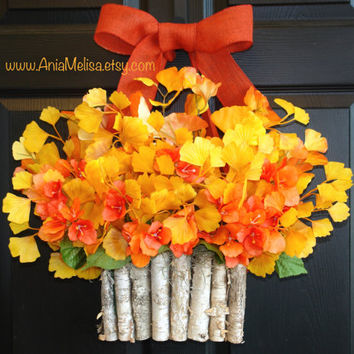 fall wreaths Thanksgiving wreath front door wreaths fall home decorations ginkgo outdoor wreaths